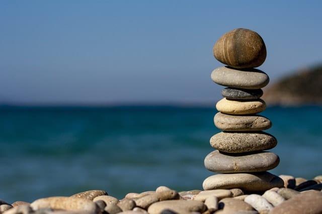 A stack of rocks balancing
