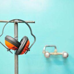 orange earmuffs for hearing protection